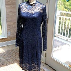 Women's Lace Mock Neck Long Sleeve Bodycon Dress